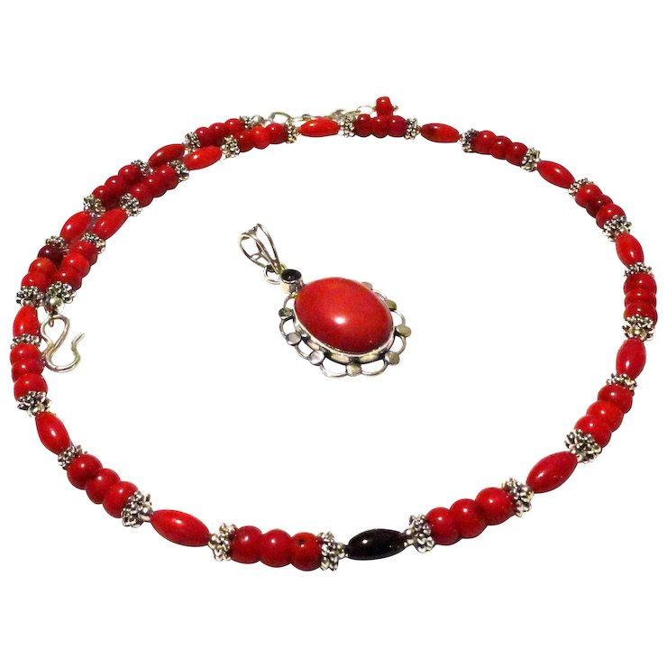 Jfts tibetan silver red coral necklace red coral pendant jfts jfts tibetan silver red coral necklace red coral pendant aloadofball Images