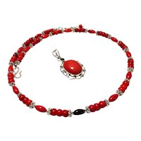 JFTS Tibetan Silver Red Coral Necklace & Red Coral Pendant