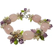 JFTS' Rose Quartz Nuggets, Cultured Freshwater Pearls & Multi Gemstone Bracelet.