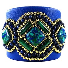 JFTS' Azurite Malachite, Lapis Lazuli, Blue Leather Cuff