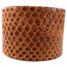 JFTS' Brown Cobra Print Leather Cuff Bracelet