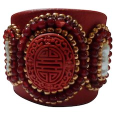 JFTS' Cinnabar, Stick Pearl, Red Onyx & Copper Bead Bracelet