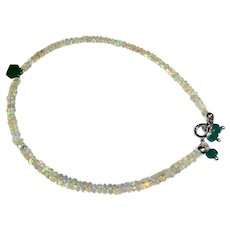 JFTS' Ethiopian Jelly Opal & Emerald Anklet
