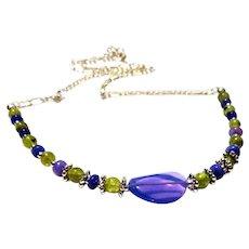 JFTS' Purple Ethiopian Opal & Peridot Necklace