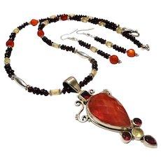 JFTS' Garnet, Carnelian, Citrine Necklace Earrings Set W/Pendant