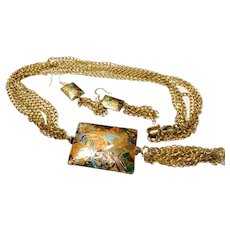 JFTS Art Nouveau 14 Kt Yellow Gold Plated Necklace & Earrings set