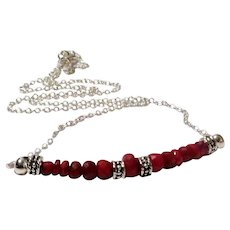 JFTS 925 Sterling Silver Ruby Necklace