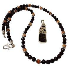 JFTS' Garnet & Sunstone Bead Necklace W/Ammolite Pendant