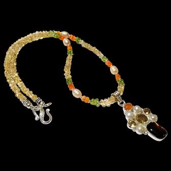JFTS' Citrine & Multi Gem Necklace W/Ammolite Multi Gem Pendant