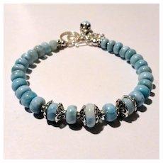JFTS' Blue Larimar Sterling & Fine Silver Bracelet