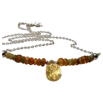 JFTS' Ethiopian Opal & Citrine 925 Sterling Silver Necklace