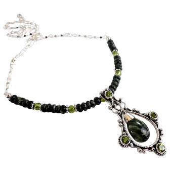 JFTS' Seraphinite & Peridot 925 Sterling Silver Necklace