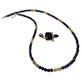 JFTS' Amethyst, Citrine & Sapphire Sterling/Tibetan Silvers Necklace