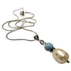 JFTS' Dominican Larimar & Cultured Freshwater Pearl Necklace