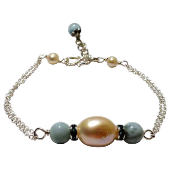 JFTS' Cultured Freshwater Pearl & Dominican Larimar Bracelet