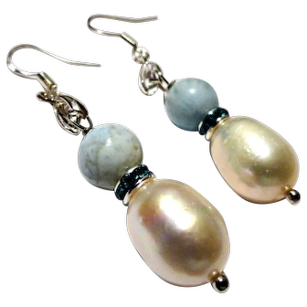 JFTS' Cultured Freshwater Pearl & Dominican Larimar Earrings