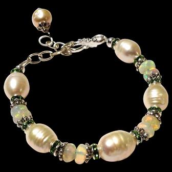 JFTS' Cultured Freshwater Pearl & Ethiopian Opal Bracelet