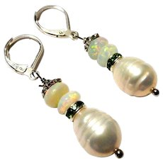JFTS' Cultured Freshwater Pearl & Ethiopian Opal Earrings