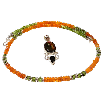 JFTS' Ethiopian Opal & Peridot Necklace W/RARE Ammolite Pendant
