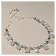 JFTS' Rainbow Moonstone & Blue Topaz 925 Sterling Silver Necklace