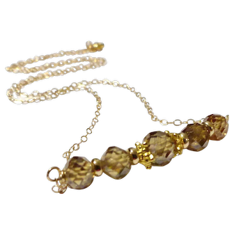 JFTS' 14 kt Gold Filled 7.940 cts Natural Champagne Diamond Bead Necklace