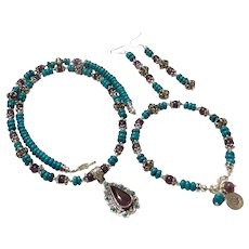 JFTS Turquoise, Amethyst, Tibetan silver Necklace, Earrings, Bracelet Set W/Pendant