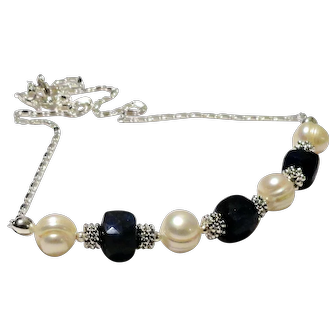 JFTS' (XMAS SPECIAL!!!) Sapphire & Cultured FW Pearl Necklace, Bracelet &  Earrings Set