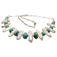 JFTS' Larimar & Cultured FW Pearl Necklace &  Earrings Set