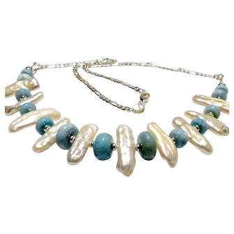 JFTS' (XMAS SPECIAL!!!) Larimar & Cultured FW Pearl Necklace, Bracelet &  Earrings Set