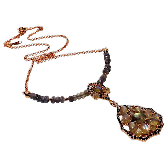 JFTS' Rose Gold Plated Labradorite Necklace W/Pendant