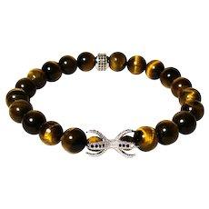 JFTS Men's Tiger's Eye Stretch Bracelet Size 9