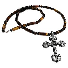 JFTS Men's Tiger's Eye Necklace W/Cross Pendant