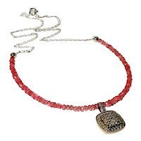 JFTS Natural Pink Topaz Necklace & Natural Diamond Pendant