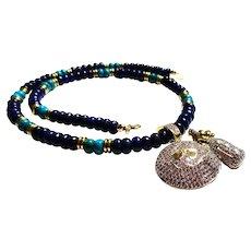 JFTS Men's Lapis Lazuli & Turquoise Necklace W/Pendant
