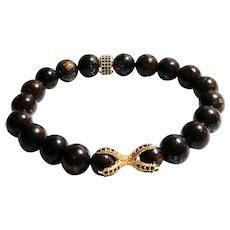 JFTS Men's Brown Bronzite Stretch Bracelet