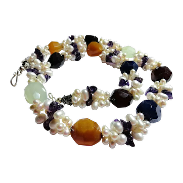 JFTS Cultured Freshwater Pearls, Multi Color Agate & Amethyst Necklace