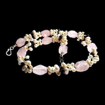 JFTS Cultured Freshwater Pearls, Pink Quartz, & Garnet Necklace