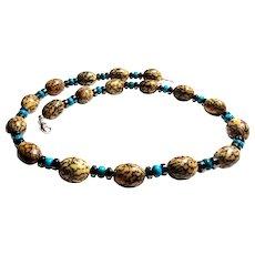 JFTS Men's Betel Nut, Turquoise & Hematite Necklace