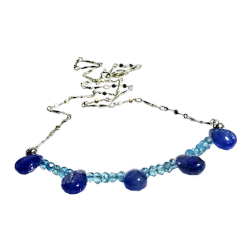 JFTS  925 Sterling Silver Natural Tanzanite & Natural Blue Topaz Necklace