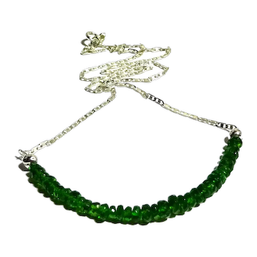 JFTS 925 Sterling Silver AAA Chrome Diopside Necklace.