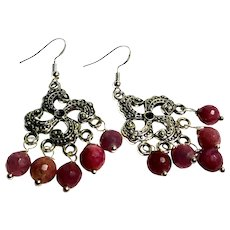 JFTS Natural Ruby Dangle Earrings