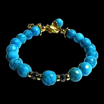 JFTS Sleeping Beauty Turquoise & Natural Diamond Bead Bracelet