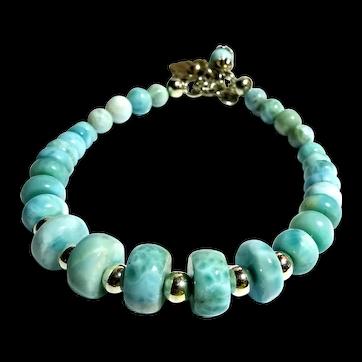 JFTS Blue Larimar Bead 925 Sterling Silver Bracelet