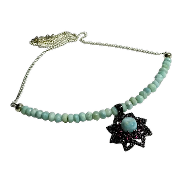JFTS 925 Sterling Silver Larimar Necklace W/925 sterling silver Larimar & Pink Sapphire Pendant