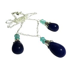 JFTS Blue Sapphire & Aquamarine Necklace Earrings Set
