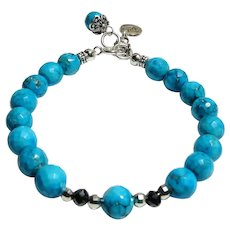 JFTS Sleeping Beauty Turquoise & Natural Diamond 8 Inch Bead Bracelet