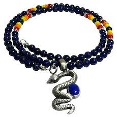JFTS Lapis Lazuli & Bone Necklace W/Pewter Lapis Pendant