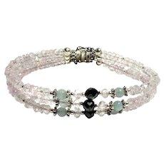 JFTS Pink Morganite, Aquamarine & Natural Black Diamond Beaded Bracelet