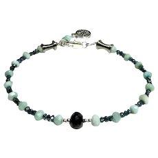 JFTS Larimar & Natural Blue Diamond Beaded Bracelet