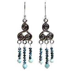 JFTS Larimar & Blue Diamond Chandelier Earrings